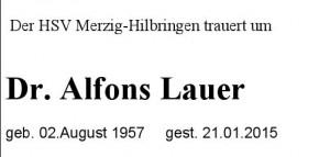 Trauer um Dr. Alfons Lauer !