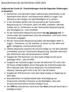 HV-Saar: Besonderheiten für die Richtlinien 2020-2021 !